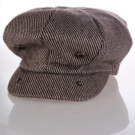 elwow Hombres tejido de mezcla de lana de alta calidad octogonal de moda  del sombrero newsboy gorra plana boina de51cf667b9