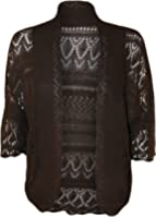 PaperMoon Women's Plus Size Crochet Knitted Short Sleeve Cardigan