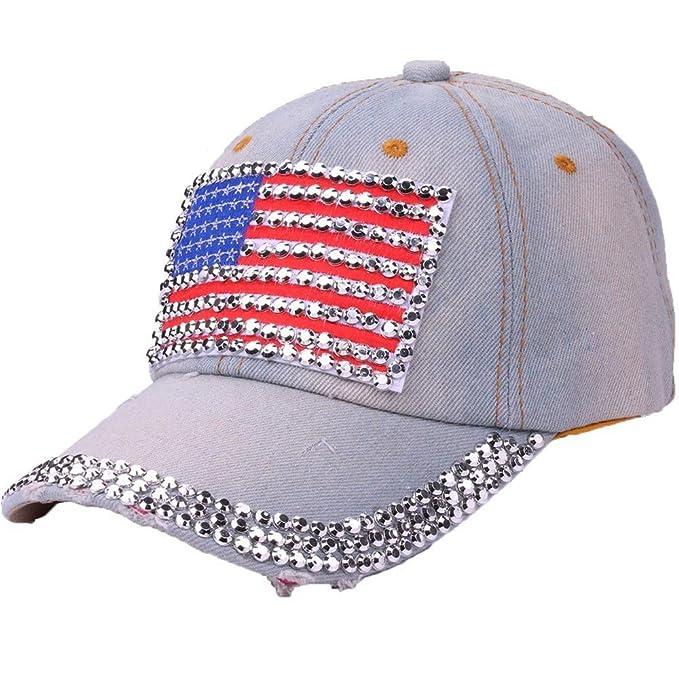 Modaworld Gorras Beisbol Mujer, Mujeres Bandera Americana Rhinestone Jeans Denim Gorras de béisbol Gorra de Sombrero Ajustable de Bling Gorras Planas ...