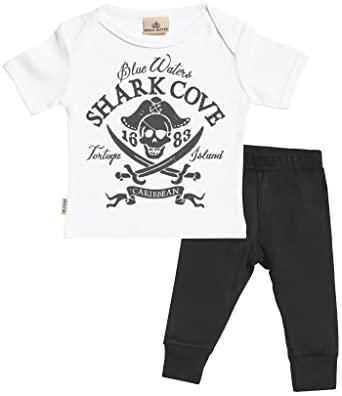 79ab183b2 Spoilt Rotten SR - Pirate Print Baby T-Shirt & Baby Jersey Trousers Outfit  Set: Amazon.co.uk: Clothing