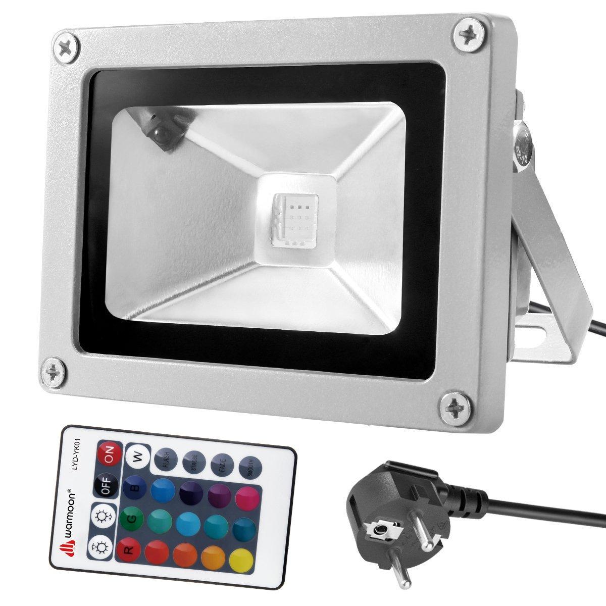 Warmoon 10W LED RGB Fluter Strahler Led Scheinwerfer außen Licht mit Fernbedienung IP65 Wasserdicht Led Außenleuchte mit EU Plug & Fernbedienung veatool direct