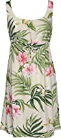 RJC Womens Pale Hibiscus Orchid Empire Tie Front Short Tank Dress in Beige - 2X Plus