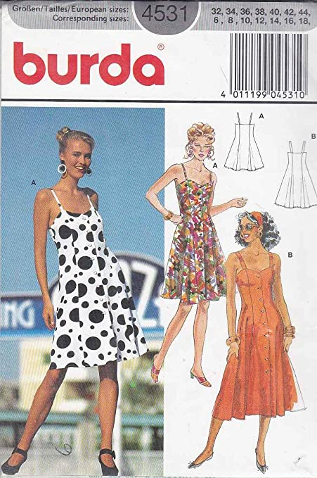 Burda Sewing Pattern 4531 Misses Sizes 6-18 Button Front Flared ...