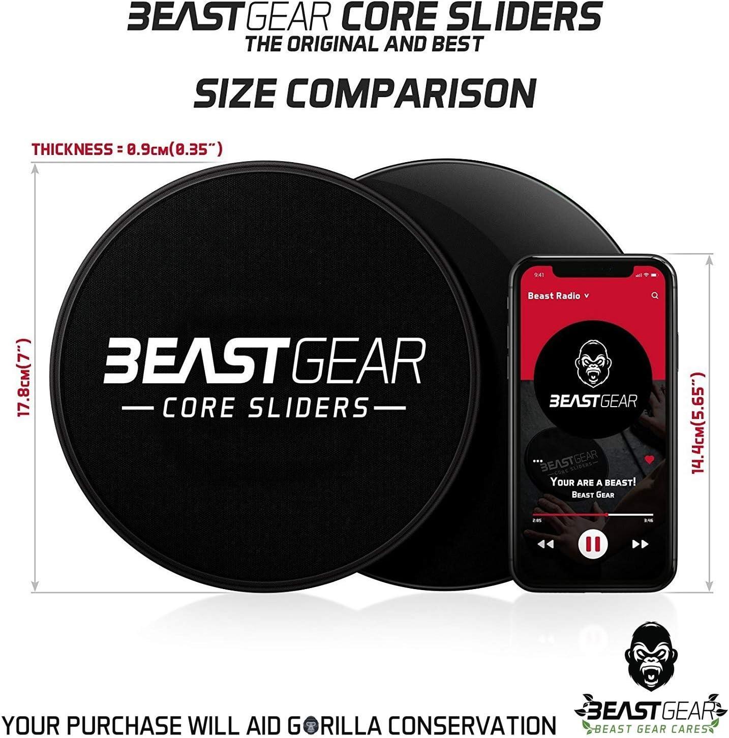 Dischi Scivolosi a Doppia Faccia per esercizi addominali Core Sliders della Beast Gear Tappeto e Pavimenti Duri