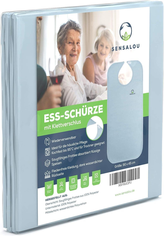 Sensalou Babero para Adultos - Protector Ropa Impermeable con cierre adhesivo - 90x45cm