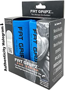 """Fat Gripz - The Simple Proven Way to Get Big Biceps & Forearms Fast (Winner of The Men's Health Magazine Home Gym Award 2020) (2.25"""" Outer Diameter) (Fat Grips, Thick Bar Adapter, Heavy Duty Rubber)"""