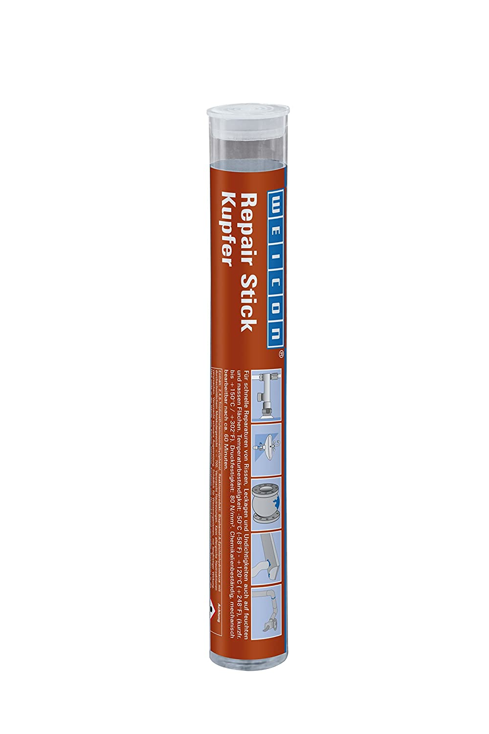 WEICON Repair Stick Copper 57g, 2 Components Adhesive Epoxy Resin Adhesive  Special Adhesive For Repair on Pipes and Lines Heat Resistant 10530057