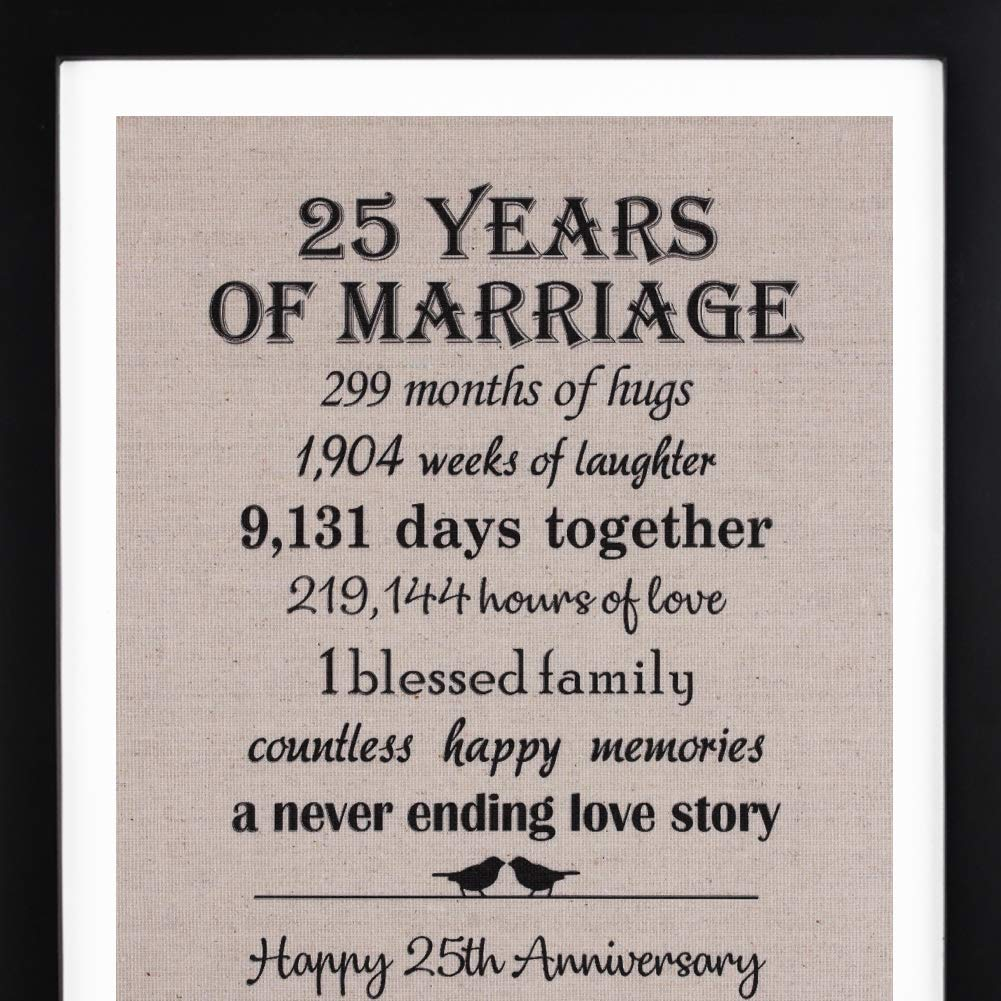 1 Year Wedding Anniversary Gifts For Her.Amazon Com 25th Anniversary Gifts Burlap Print With Frame 25 Year