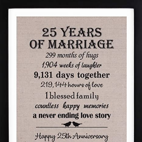 Amazon Com 25th Anniversary Gifts Burlap Print With Frame 25 Year