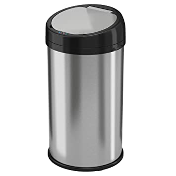 ITouchless 13 Gallon Stainless Steel Automatic Trash Can With Odor Control  System, Round Sensor Touchless