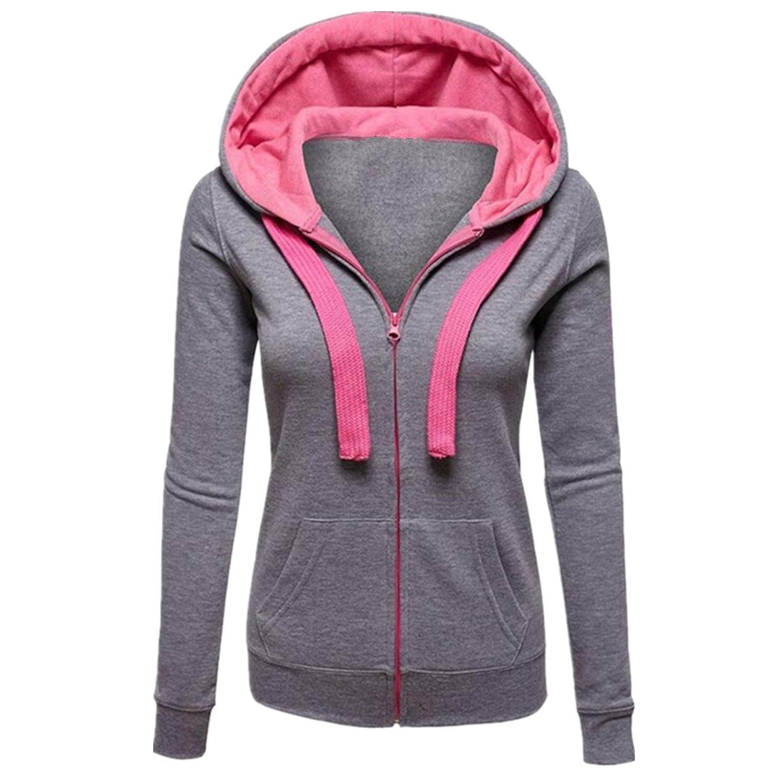Taiduosheng Womens Hooded Zipper Sweat Shirt Jacket Hoodies