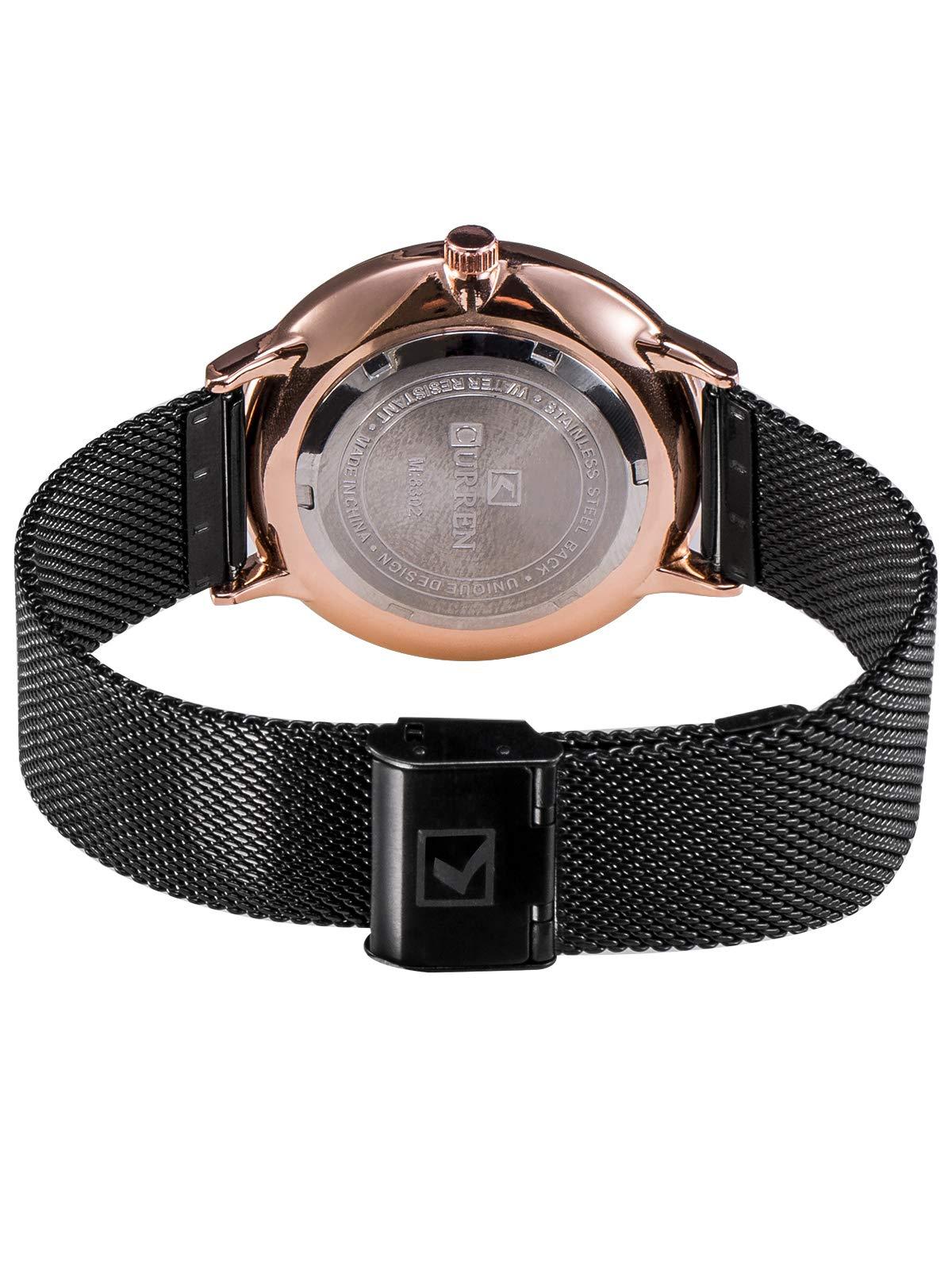 Herren Uhren Edelstahl Mesh Armband Uhren Männer Wasserdicht Datum Kalender Geschäfts Klassisch Analog Quarz Dünn Armbanduhr Gents Luxus Schwarz Uhr mit Schwarz Zifferblat