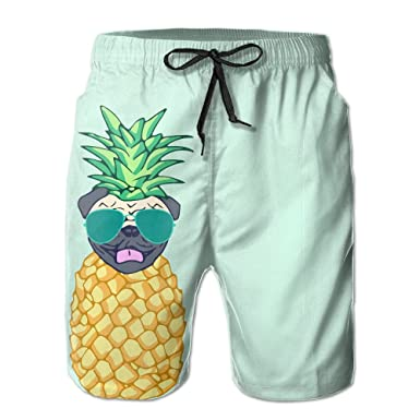9234461d10 JH SPEED Mens Surf Beach Shorts Swim-trunks Quick Dry Pug Pineapple With Sunglasses  Board Shorts With Pocket SizeNme | Amazon.com