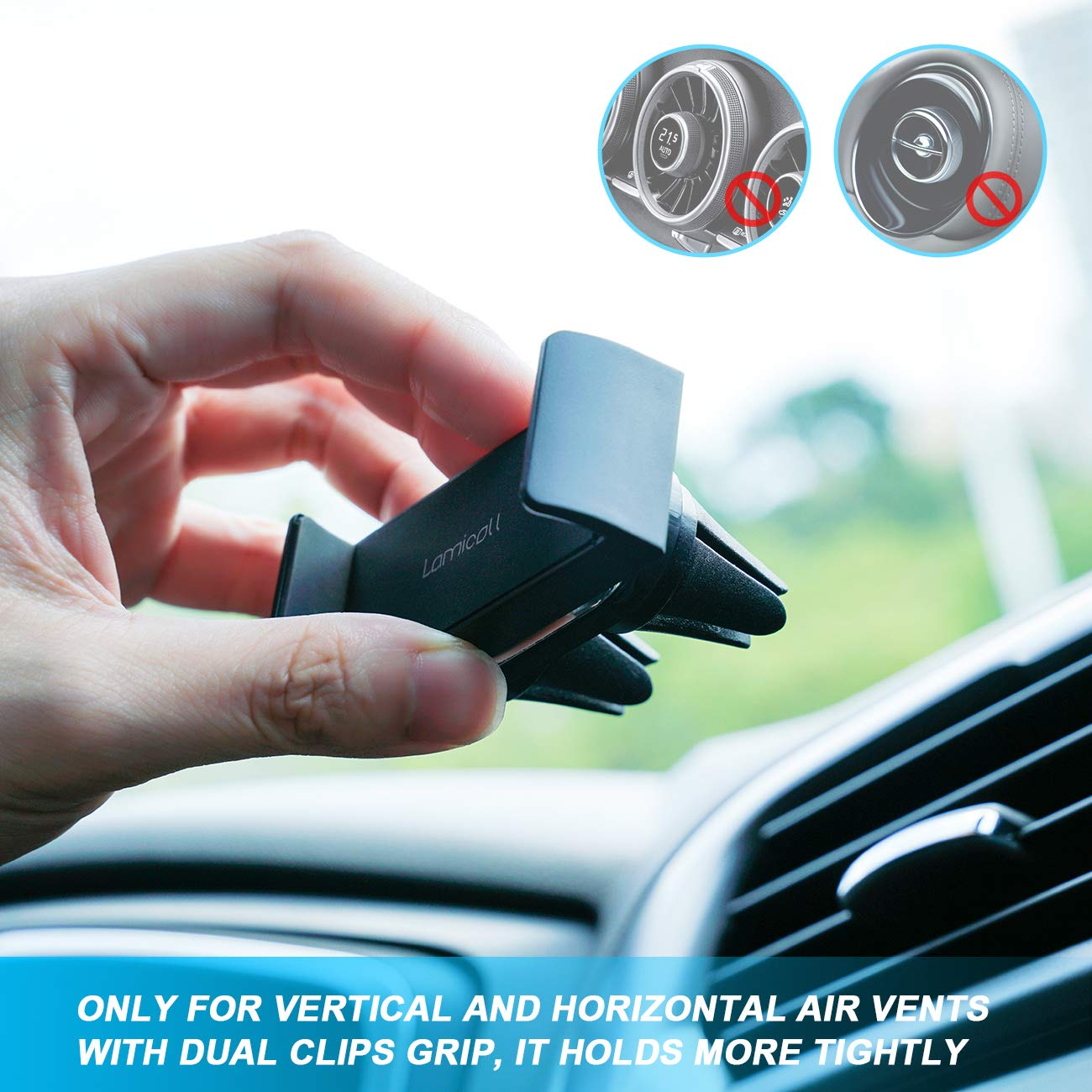 Car Phone Mount, Lamicall Car Vent Holder : Universal Stand Cradle Holder Compatible with Phone Xs Max XR 8 X 8P 7 7P 6S 6P 6, Samsung Galaxy S5 S6 S8 S9 S8+ S9+, Google, LG, Huawei, Other Smartphone by Lamicall (Image #6)