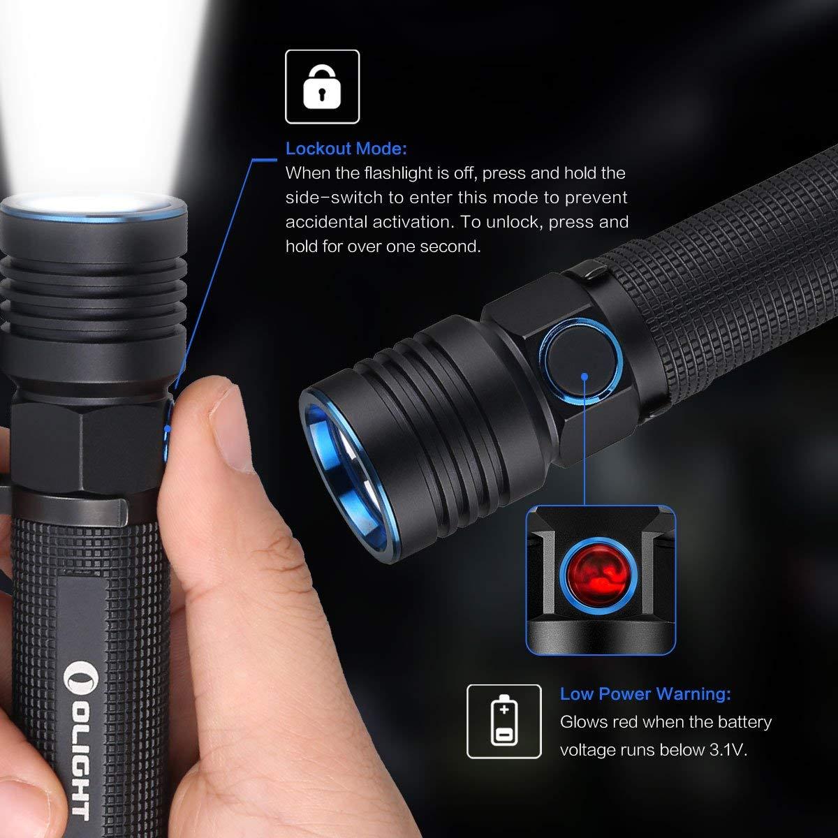 OLIGHT S30R III Lampe Torche Puissante Rechargeable LED de Haute Qualit/é Sortie Max de 1050 Lumens 188m Batterie 18650 3500mAh 3.6V Charge Rapide avec Socle de Chargement