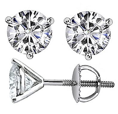 3cddf97ea Image Unavailable. Image not available for. Color: 2.00 CT TW Round Cut Cubic  Zirconia Screw-Back Martini Prong Stud Earrings in Sterling