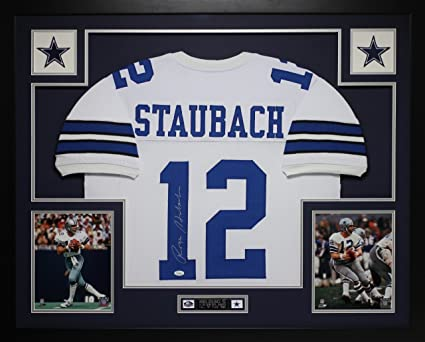 8cc3f575 Roger Staubach Autographed White Cowboys Jersey - Beautifully Matted ...