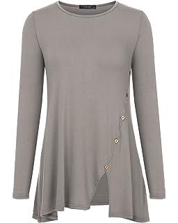 0f3826b246e20 Mixfeer Women s Long Sleeve Split Hemline Casual T-Shirt Blouse Tunic Tops  with Buttons
