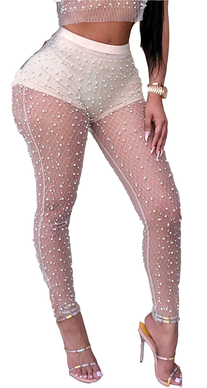 4e322ab1f1706 MarcoJudy Women s Mesh Beaded See Through Skinny Leggings Long Pants at  Amazon Women s Clothing store