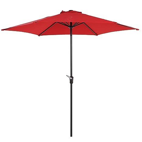 Incroyable Grand Patio 9FT Aluminum Patio Umbrella, UV Protective Beach Umbrella With  Easy Crank And W