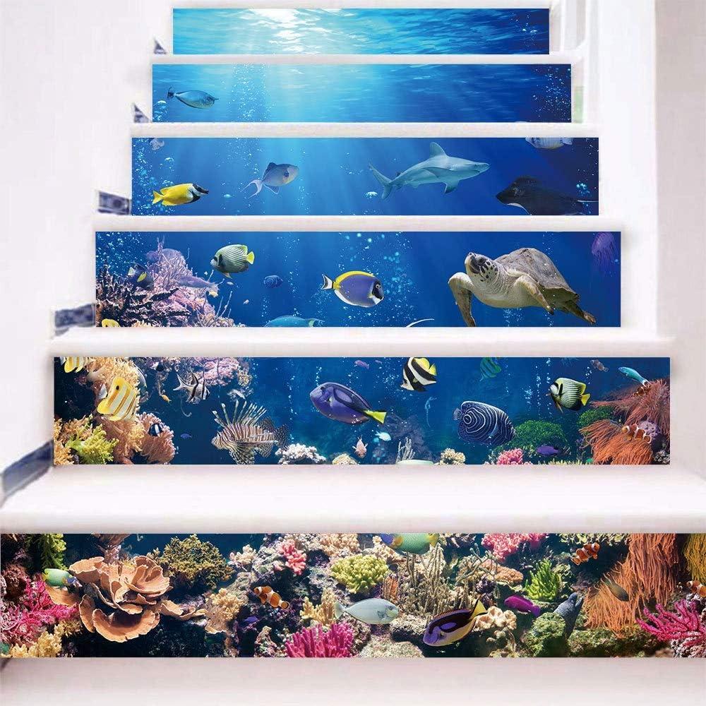 LIZHIOO Autocollants descaliers 13pcs Tiroirs color/és mosa/ïque Bleu Marine Noir Blanc Chaussures escaliers Stickers muraux /étapes de Bricolage Autocollant Sticker Mural Papier Peint A 100 * 18cm