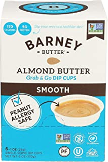 product image for BARNEY Almond Butter Dip Cups, Smooth, No Stir, Non-GMO, Skin-Free, Paleo Friendly, KETO, 1 Ounce Cups, 6 Count (Pack of 6)