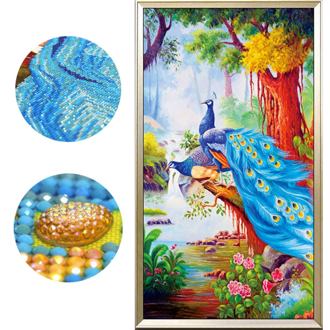 Mazixun Special Shaped Diamonds Diamond Embroidery 5D DIY Diamond Painting Mosaic Animals Home Decoration Paste Picture Peacock 79x151cm