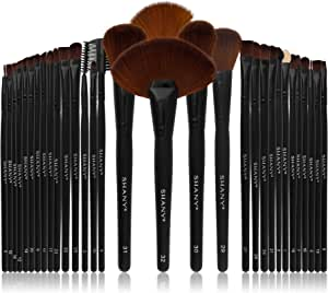 SHANY Professional Brush Set with Leather-Look Pouch, 32 Count Goat & Badger.