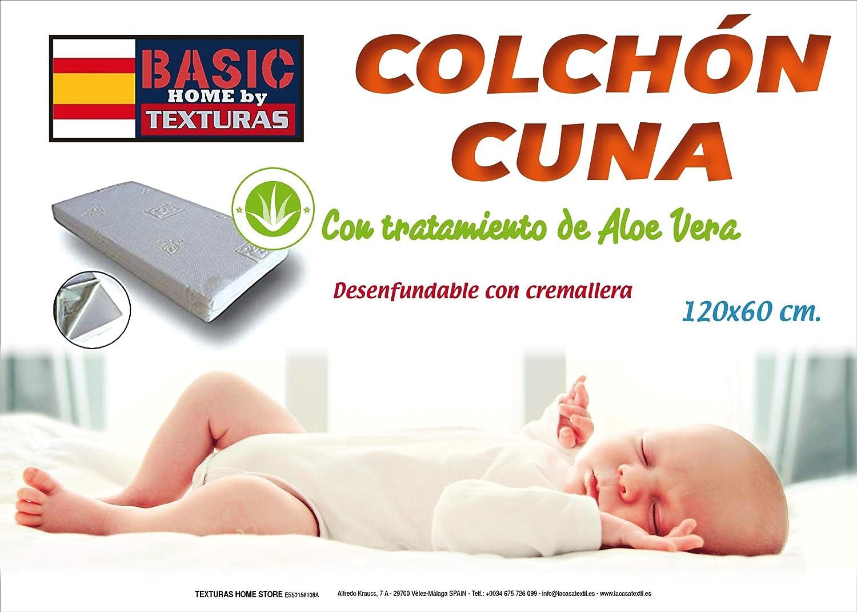 TEXTURAS HOME - Colchón de Cuna ALOE VERA Desenfundable 120x60 cms