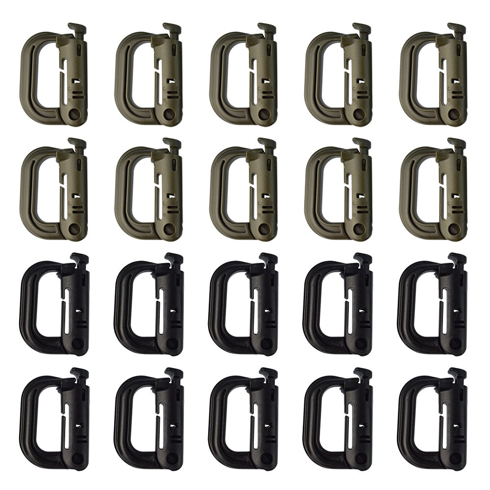 Yookat 20Pack Multipurpose D-Ring Grimloc Locking for Molle Webbing Plastic Buckle Hanging Hook Spring Snap Key Chain (10Pcs Black+10pcs Green)