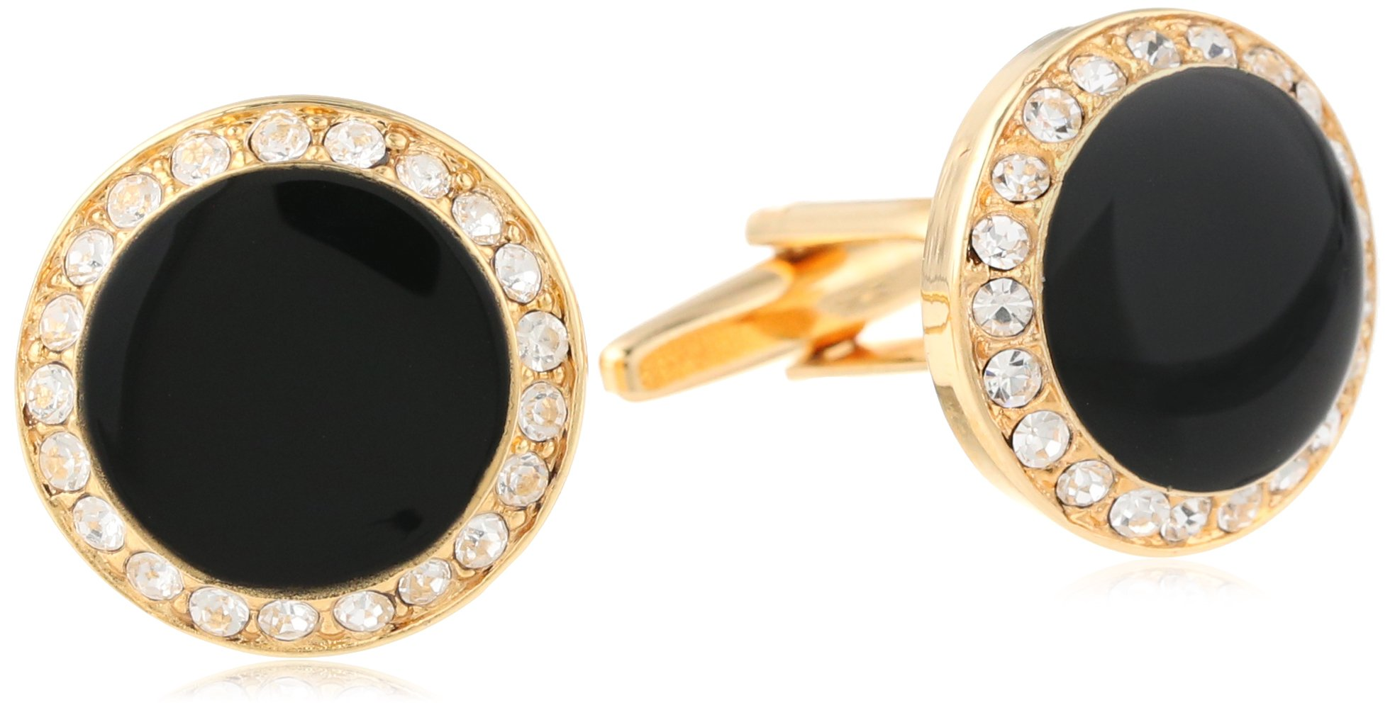 Stacy Adams Men's Round Cuff Link With Black Enamel and Crystals, Gold/Crystal, One Size