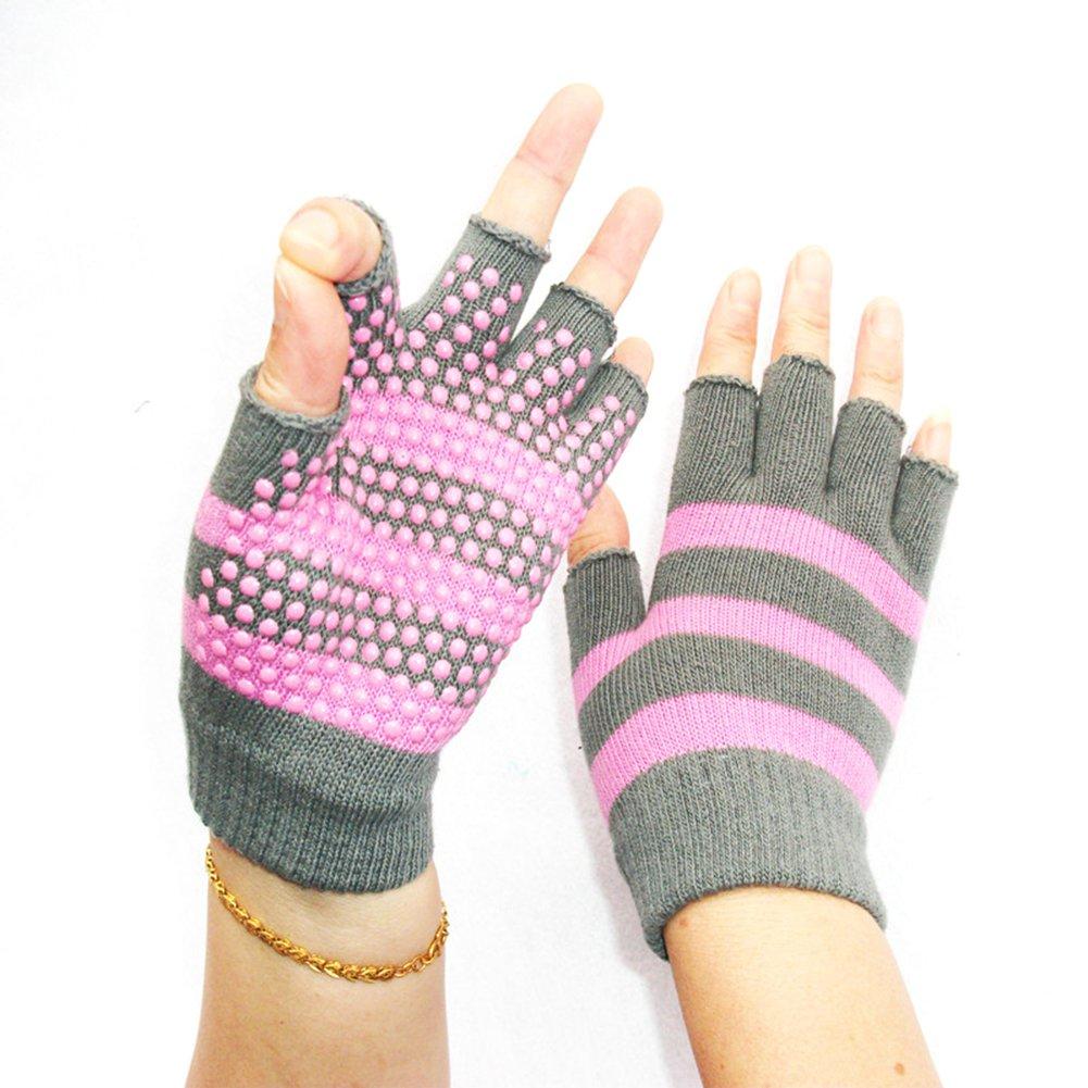Unisex Yoga Sports Fingerless Gloves Pure Cotton Non Slip Half-finger Gloves Pink&Grey Stripe