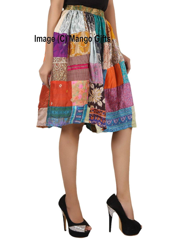 Patchwork Skirt Indian Silk Sari Knee Length Boho Wear