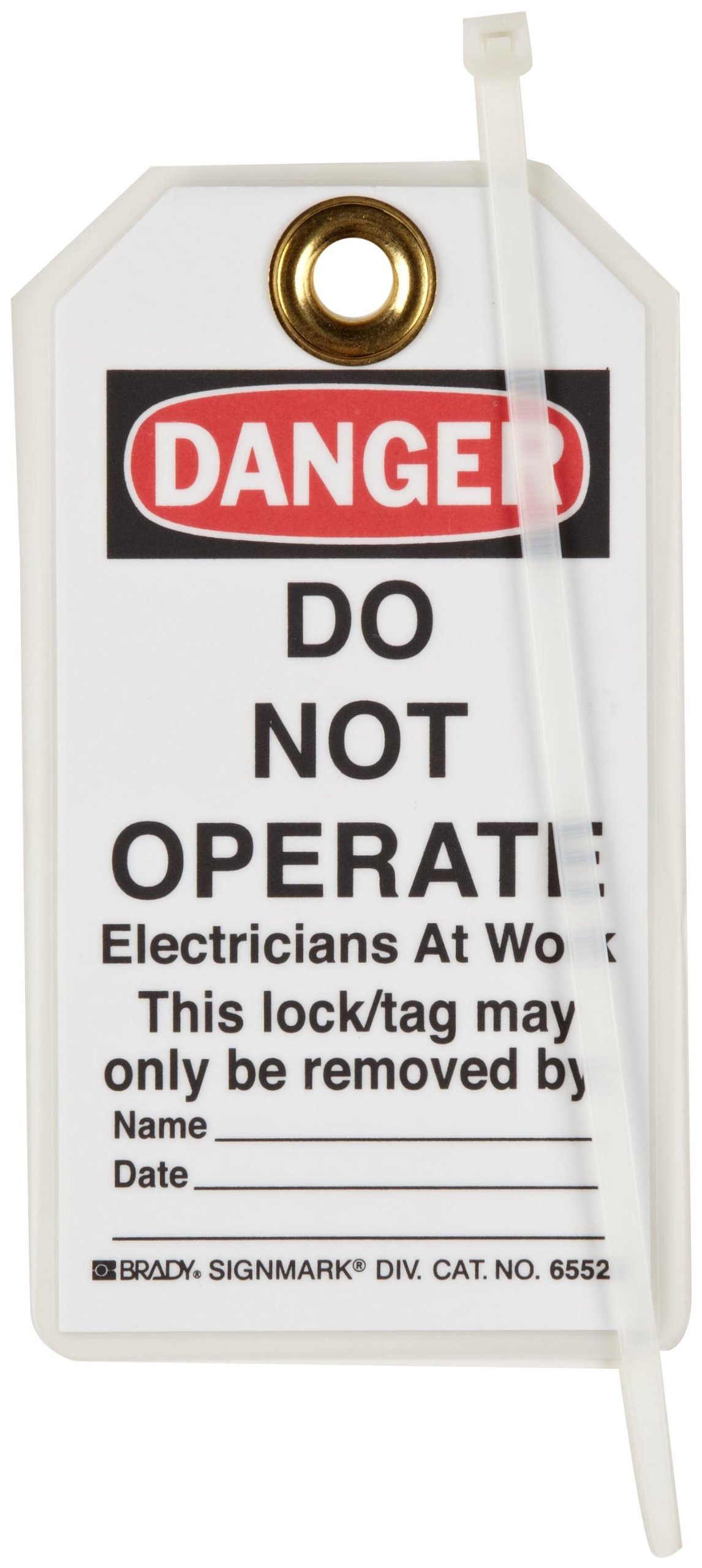 Brady ''Danger - Do Not Operate - Electricians at Work'' Tag, Heavy Duty Polyester, 5-1/2'' Height, 3'' Width (Pack of 25)
