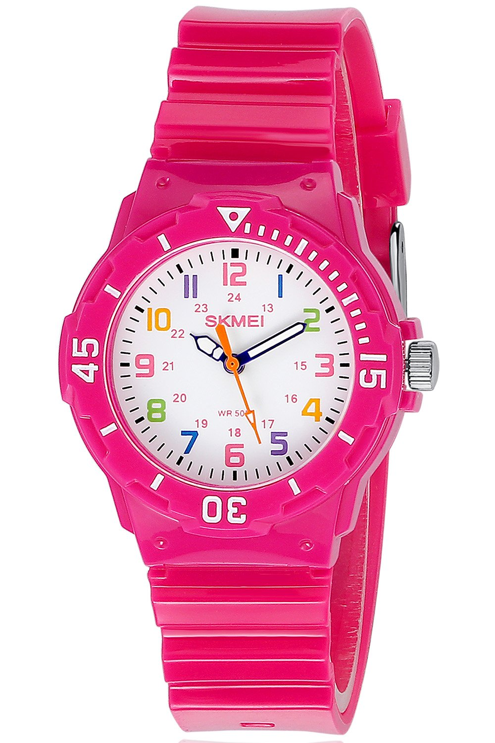 Girls Wrist Watch Two Display Modes,Colourful Numbers,Boys Girls Children Watch Rose Red