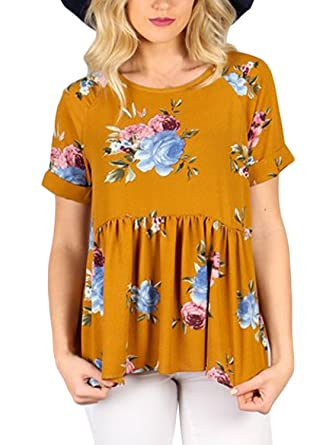 53686c5ea7c35 Amazon.com  Dearlovers Women Casual Floral Print Short Sleeve Shirt Tops  Tees Large Size Mustard  Clothing