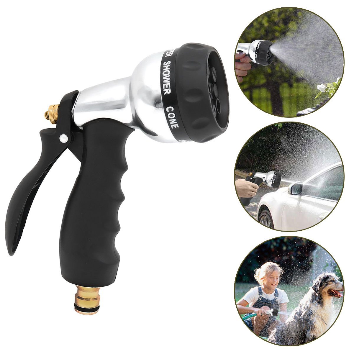 Garden Hose Nozzle, Aodoor Spray Gun 7 Different Spray Settings Spray Nozzle - Perfect for Car Wash, Cleaning, Watering Lawn, Garden, Plants Washing Dogs & Pets etc