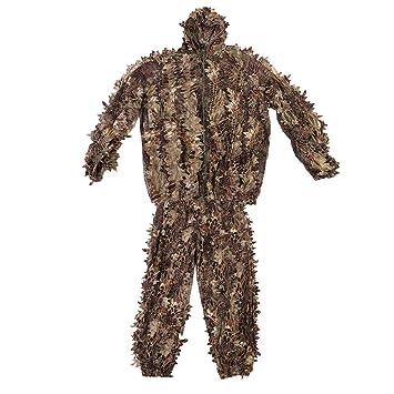 Tbest Ghillie Suit 3D,Traje de Camuflaje Ghillie Sniper Respirable Al Aire Libre Entrenamiento Militar Bionico Ropa y Pantalones para Caza Woodland Desierto ...
