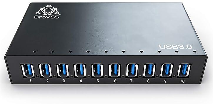 Black 10 Port Powered USB 3 Hub Multiple USB Port Hub LED Lights USB 3 Splitter Hub with 12V 5A 60W Power Adapter Mounting Brackets USB Hub Charger