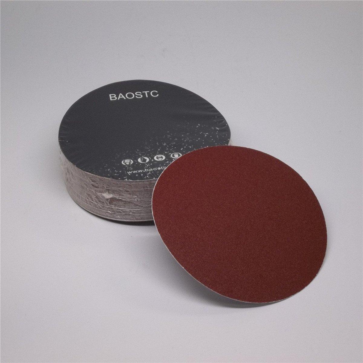 BAOSTC 5'' no holes P80 PSA sanding disc,red aluminum oxide 50PACK