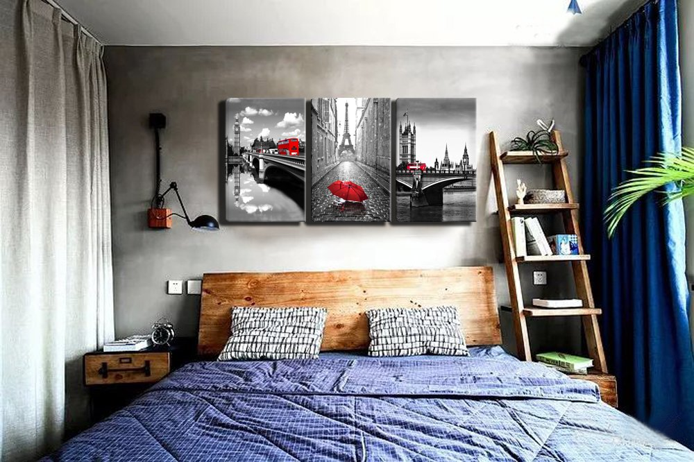 Artwork Pictures For Wall Decor Eiffel Tower Painting For Bedroom Gray And Yellow Canvas Wall Art Paris Decor Home Elektroelement Com Mk