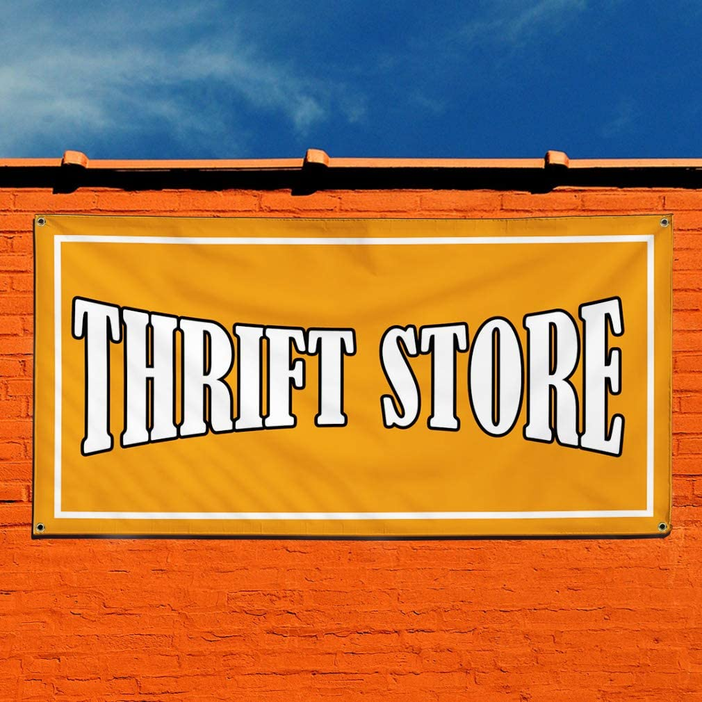 Multiple Sizes Available Vinyl Banner Sign Thrift Store #1 Style A Business Store Marketing Advertising Orange Set of 2 4 Grommets 28inx70in