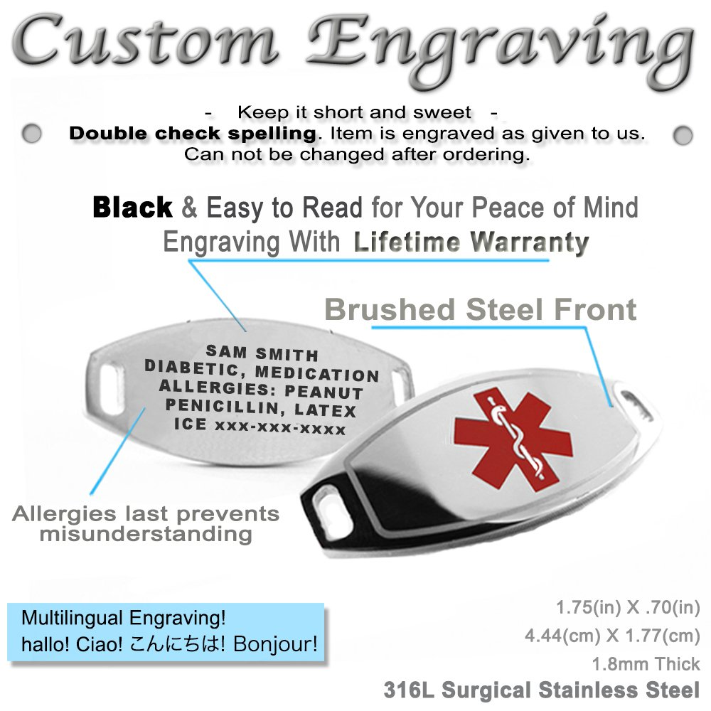 My Identity Doctor – Custom Engraved Medical Alert Bracelet, 316L 7mm Steel Matte Links