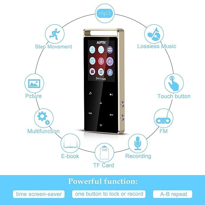 AGPtek A01S 16 GB Deporte Reproductor de MP3 con FM/Radio, sonido sin pérdidas reproductor de música con Touch botón de metal & independiente Lock (apoyo de ...