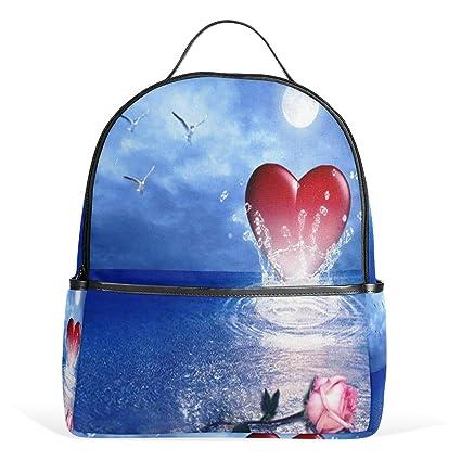 4598c7bfd851 Amazon.com: Pink Rose Heart Seabird Wallpaper Backpack Womens Laptop ...