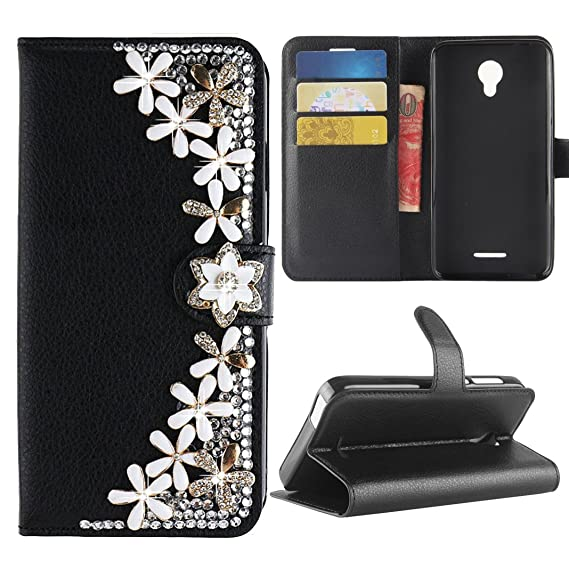 Best Alice for Alcatel IdealXcite Case/Alcatel Raven LTE Case/Alcatel Verso  Case/Alcatel CameoX Case, 3D Bling Diamond Wallet Card Slots Kickstand