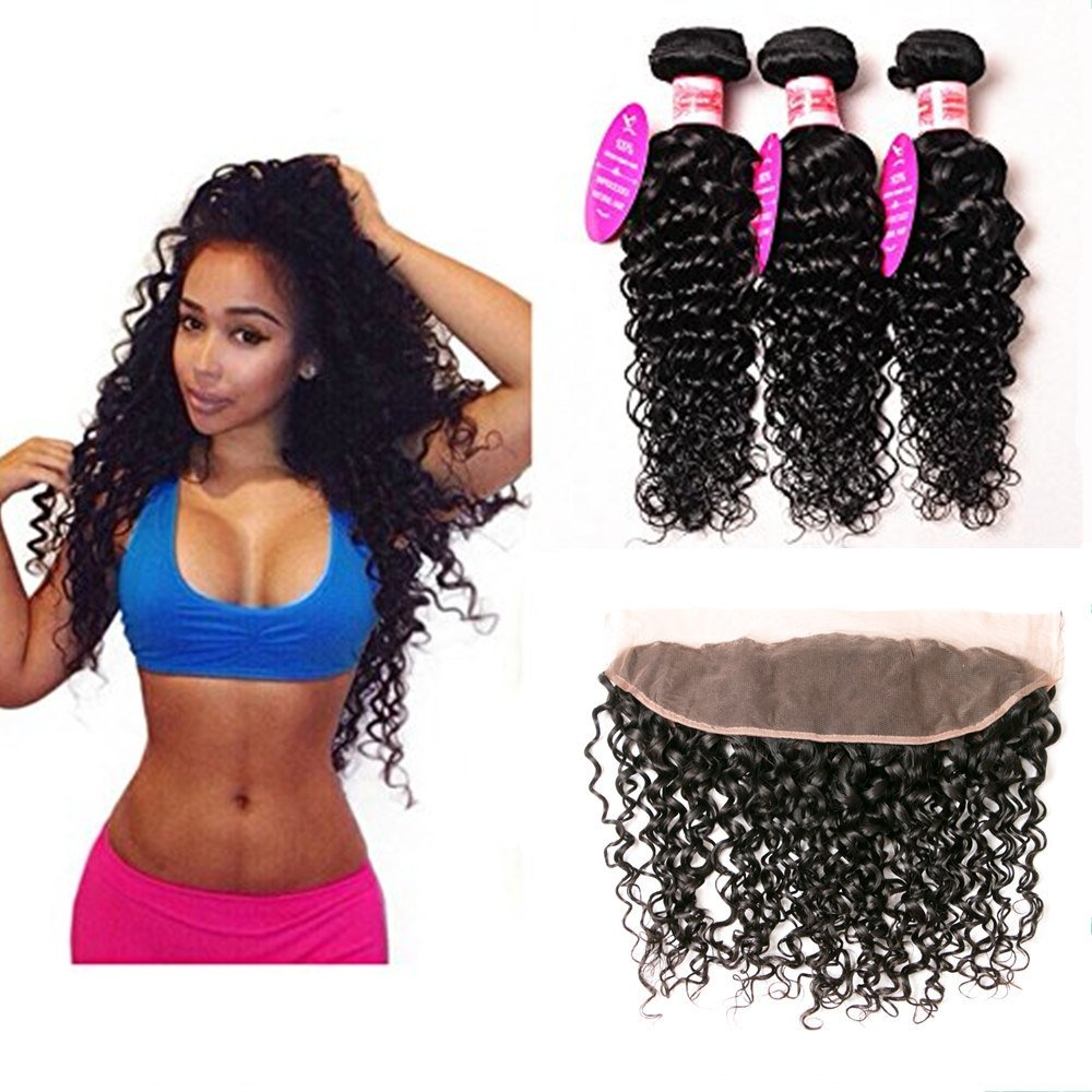 100% Human Hair Bundles mit Lace Frontal Water Wave Bundles mit Ohr zu Ohr Lace Frontal Unprocessed Virgin Brazilian Hair(10 12+8 Lace Frontal, Natural Color)