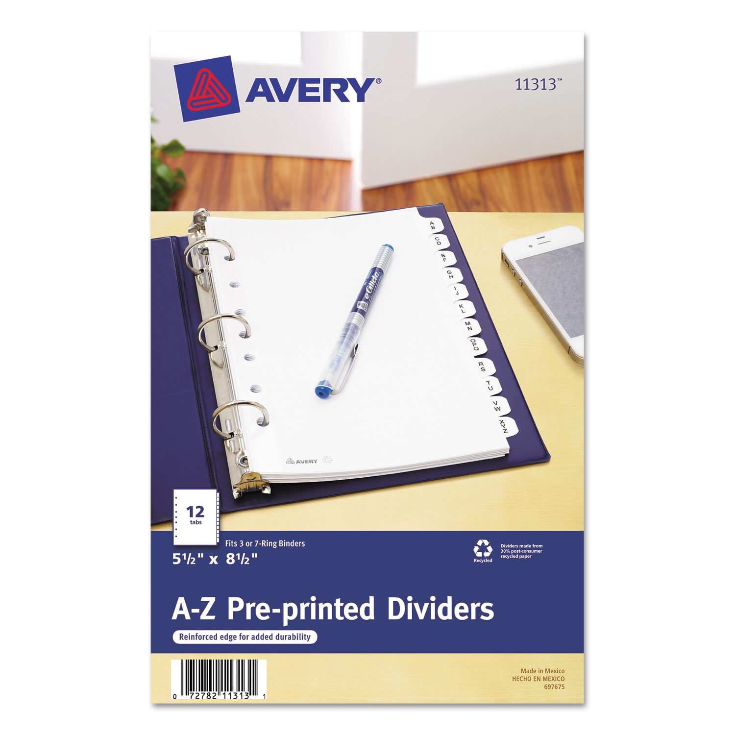 Avery 11313 Pre-Printed Dividers, w/7 Holes, 12-Tabs, A-Z, 8-1/2x5-1/2, WE 8-1/2x5-1/2 AVE11313