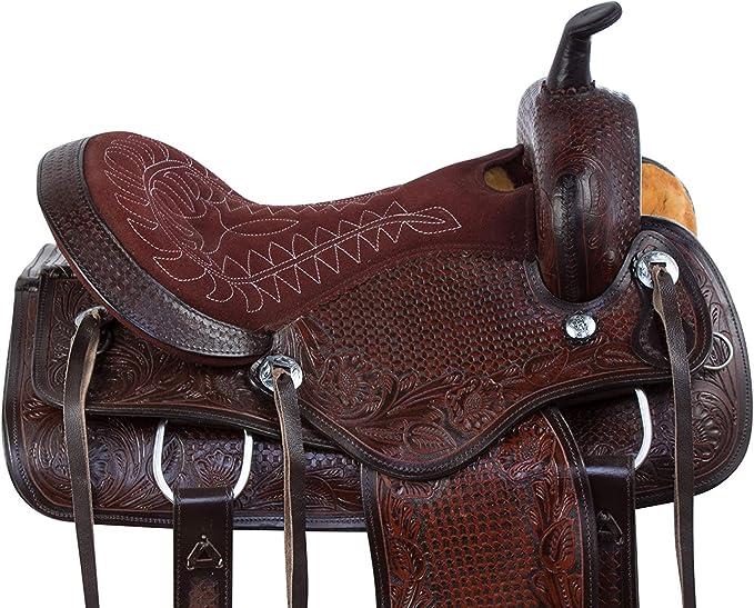 Y/&Z Enterprises Selle en cuir pour cheval de course Western Baril disponible avec licol et r/ênes assortis en cuir