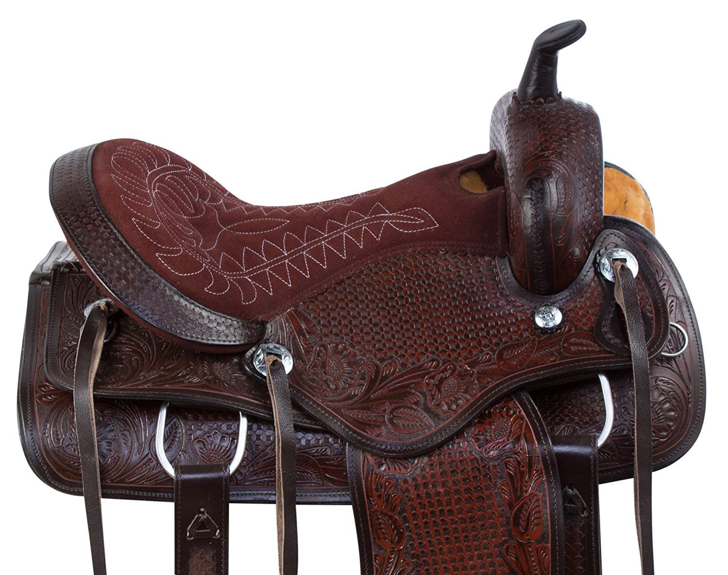 Reins Y/&Z Enterprises Premium Leather Western Barrel Racing Horse Saddle Tack Size 14 to 18 Inches Seat Available Get Matching Leather Headstall Breast Collar